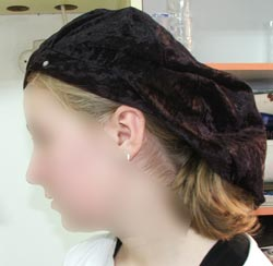 side view of wearing a beret